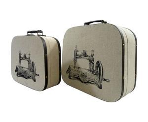 Set de 2 maletas de costura de madera y tela
