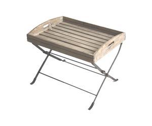 Mesa bandeja plegable de hierro y madera – marrón