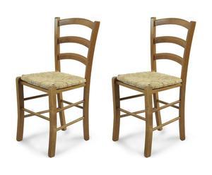 Set de 2 sillas de madera y paja - natural