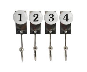 Set de 4 ganchos de metal y cerámica - blanco y negro