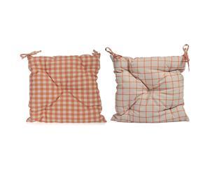 Cojín de asiento de lino y algodón, rojo y beige – 50x50