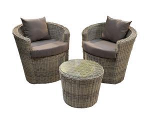 Set de 1 mesa y 2 sillones de exterior de mimbre – natural y topo