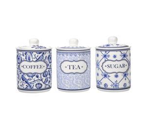Set de 3 tarros de porcelana XUAN - blanco y azul