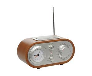 Radio con reloj de madera de abeto - marrón