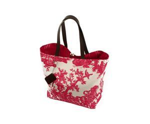 Bolsa de playa de cuero y tela – rojo y blanco