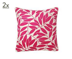 Par de cojines Calypso, blanco y rosa – 45x45