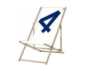 Tumbona de tela de vela - blanco y azul