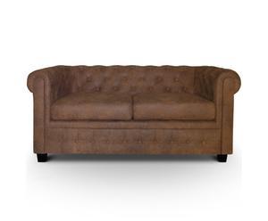 Sofá de terciopelo, marrón chocolate - 2 plazas