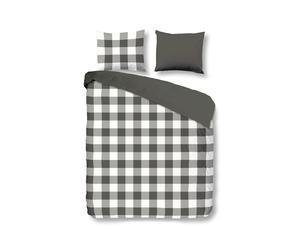 Juego de funda nórdica y funda de almohada cuadros blanco y negro – 140x200
