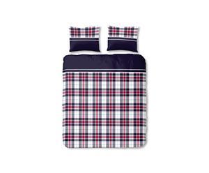 Juego de funda nórdica y funda de almohada blanco, azul y rojo – 140x200