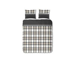 Juego de funda nórdica y funda de almohada blanco, beige y negro – 140x200