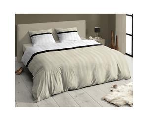 Juego de funda nórdica y funda de almohada beige, blanco y negro – 140x200