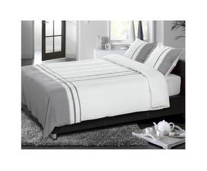 Juego de funda nórdica y funda de almohada, blanco y gris – 140x200