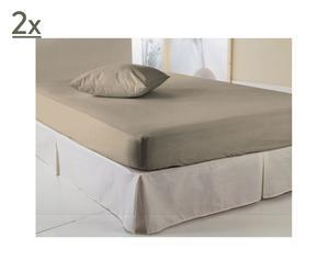 Set de 2 sábanas bajeras ajustables, beige – 160x200