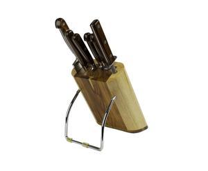 Taco con 4 cuchillos, 1 tenedor y un afilador