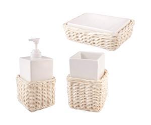 Set de 3 Accesorios de baño de mimbre y loza - Blanco