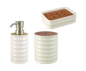 Set de 3 Accesorios de baño de cerámica y bambú - Blanco