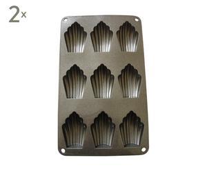 Set de 2 moldes de silicona de silicona en forma de magdalena