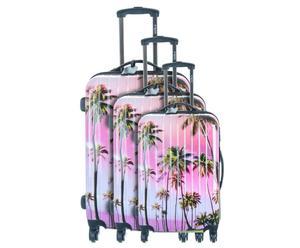 Set de 3 maletas con ruedas Palmeras