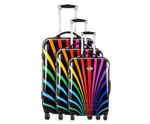 Set de 3 maletas con ruedas Arco iris