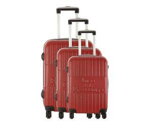 Set de 3 maletas de ABS Ménilmontant - rojo