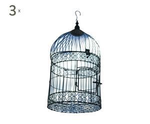 Set de 3 jaulas para pájaros PAPILO - gris