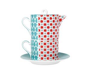 Juego de té individual, porcelana – azul y rojo