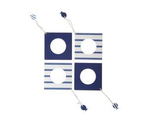 Set de 4 servilleteros de madera - azul y blanco