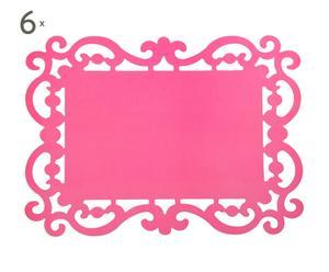 Set de 6 manteles individuales de tela - rosa
