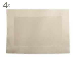 Set de 4 manteles individuales de plástico - beige