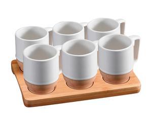 Set de 1 bandeja y 6 tazas Janette