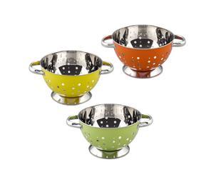 Set de 3 coladores, acero inoxidable - verde, naranja y amarillo