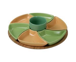 Plato giratorio de cerámica y madera – multicolor y natural