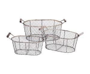 Set de 3 cestas de metal