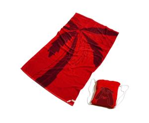 Set de toalla de playa y bolsa integrada de algodón – rojo