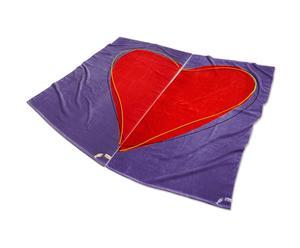 Set de 2 toallas de playa Corazón de algodón - púrpura y rojo