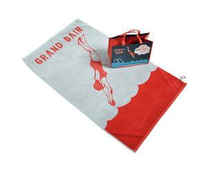 Set de toalla y bolsa de playa de algodón - gris y rojo