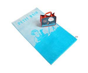 Set de toalla y bolsa de playa de algodón - gris y turquesa