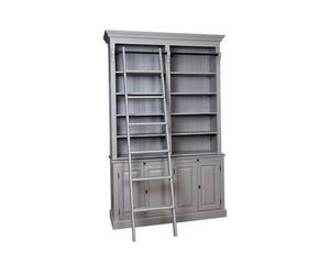 Librería con estantes y 4 puertas - gris