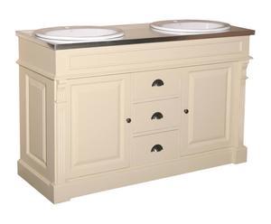 Mueble de baño de madera - crema y natural