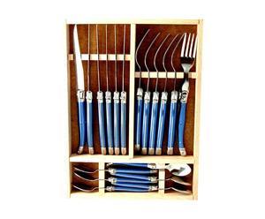 Cubertería de 18 piezas de acero – azul