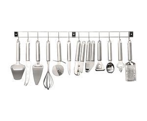 Riel de pared en acero con 12 utensilios – L90