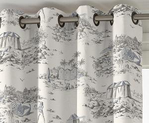 Cortina con ollaos DEAUVILLE de algodón, azul – 135x270