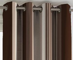Cortina con ollaos OTELO de algodón, marrón y beige – 135x270