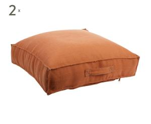 Set de 2 cojines de suelo, naranja – 50x50