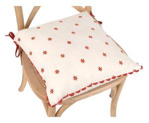 Cojín para silla en algodón – blanco y rojo