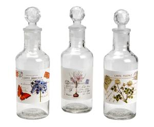 Set de 3 botellas decorativas en vidrio
