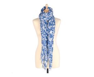 Fular en viscosa, azul y blanco - 110x180