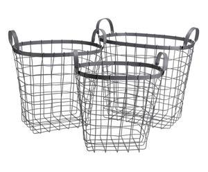 Set de 3 cestas de almacenamiento en hierro - gris