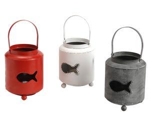 Set de 3 portavelas en hierro Fish – rojo, blanco y gris